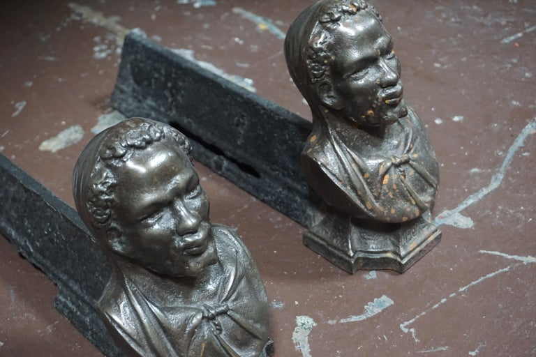 Iron Pair of Andirons Cast in the Likeness of Bearded Man  For Sale