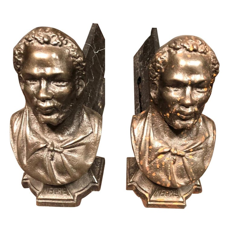 Pair of Andirons Cast in the Likeness of Bearded Man  For Sale