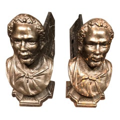 Pair of Andirons Cast in the Likeness of Bearded Man