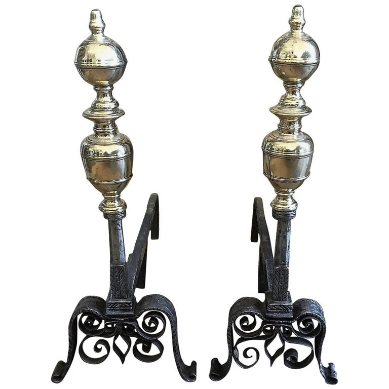 Pair of Andirons with Brass Adornment For Sale