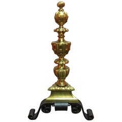 Pair of Andirons with Brass Urn Finials and Black Iron Bases, 19th Century