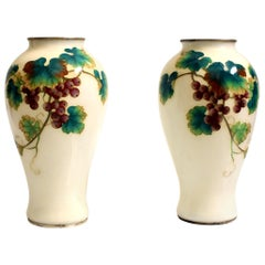 Pair of Ando Jubei Cloisonné Vase, Signed, Grapes
