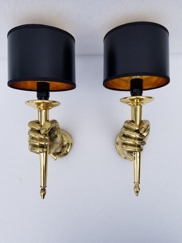 Pair of Andre Arbus Bronze Hand Sconces For Sale 6