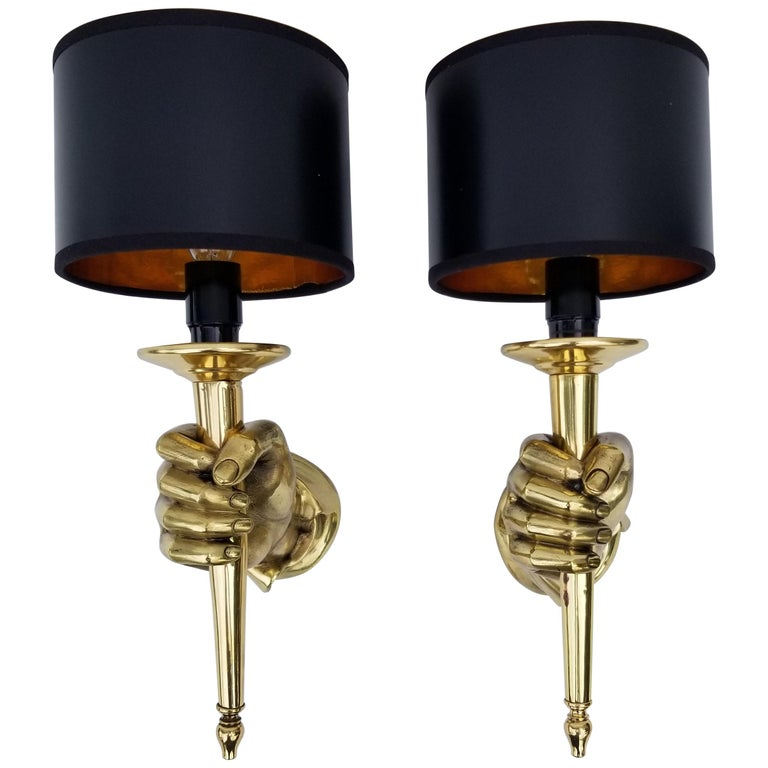 Superb pair of Andre Arbus style sconces in bronze, very heavy and well done.