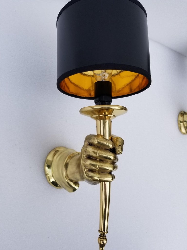 French Pair of Andre Arbus Bronze Hand Sconces For Sale