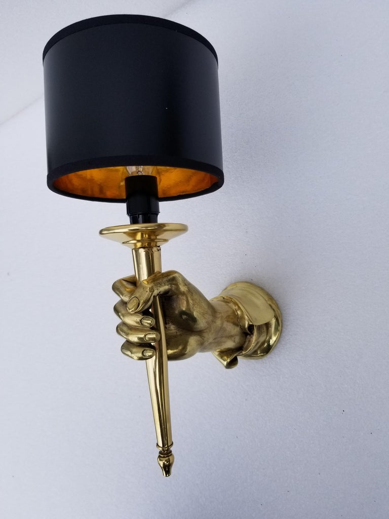 Mid-20th Century Pair of Andre Arbus Bronze Hand Sconces For Sale