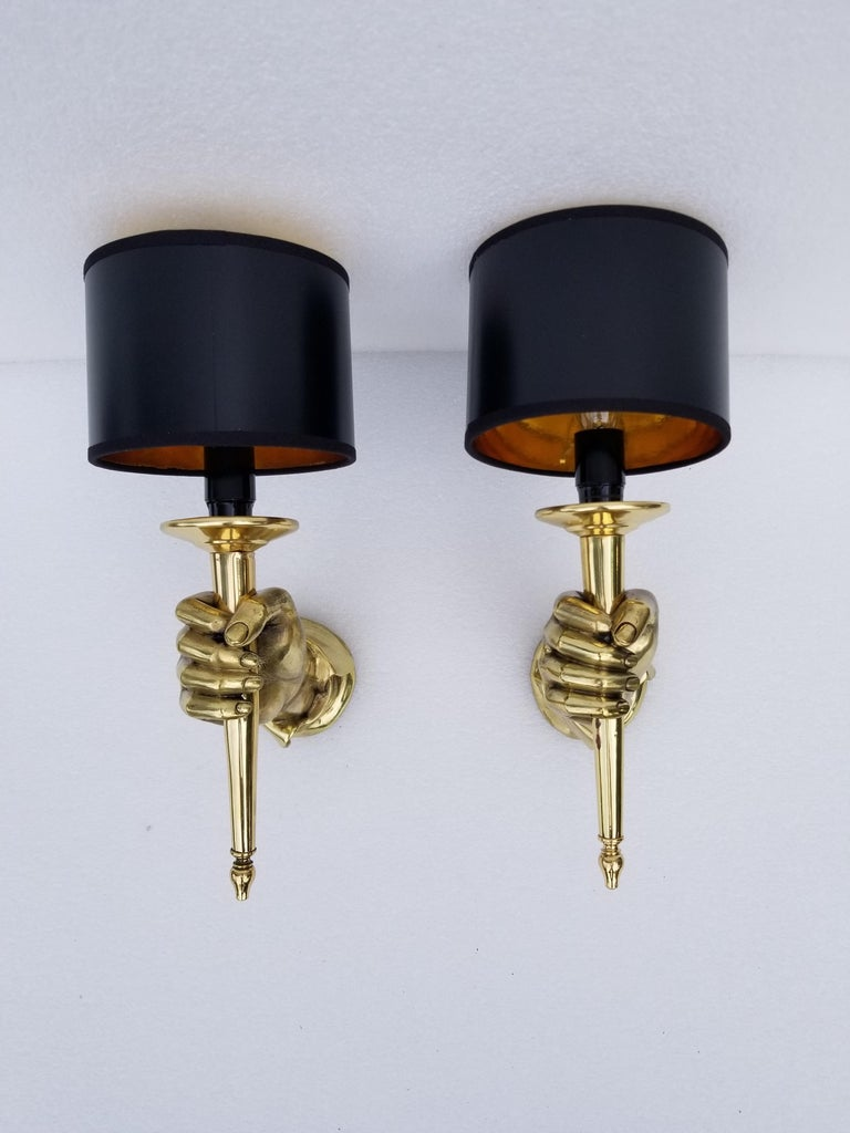 Pair of Andre Arbus Bronze Hand Sconces For Sale 1