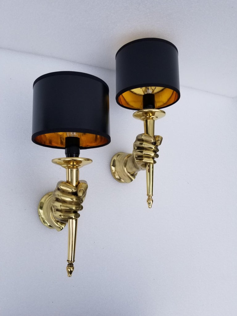 Pair of Andre Arbus Bronze Hand Sconces For Sale 2