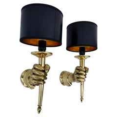 Pair of Andre Arbus Bronze Hand Sconces