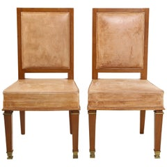 Pair of André Arbus Cerused Oak and Leather Side Chairs