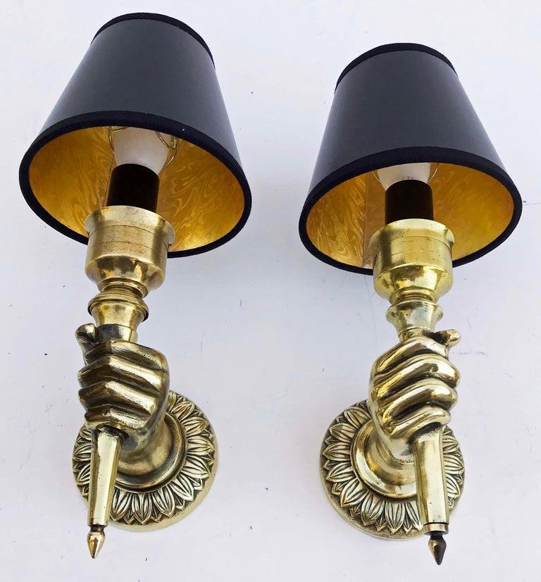 French Pair of André Arbus Hand Sconces , 4 Pairs Available  For Sale