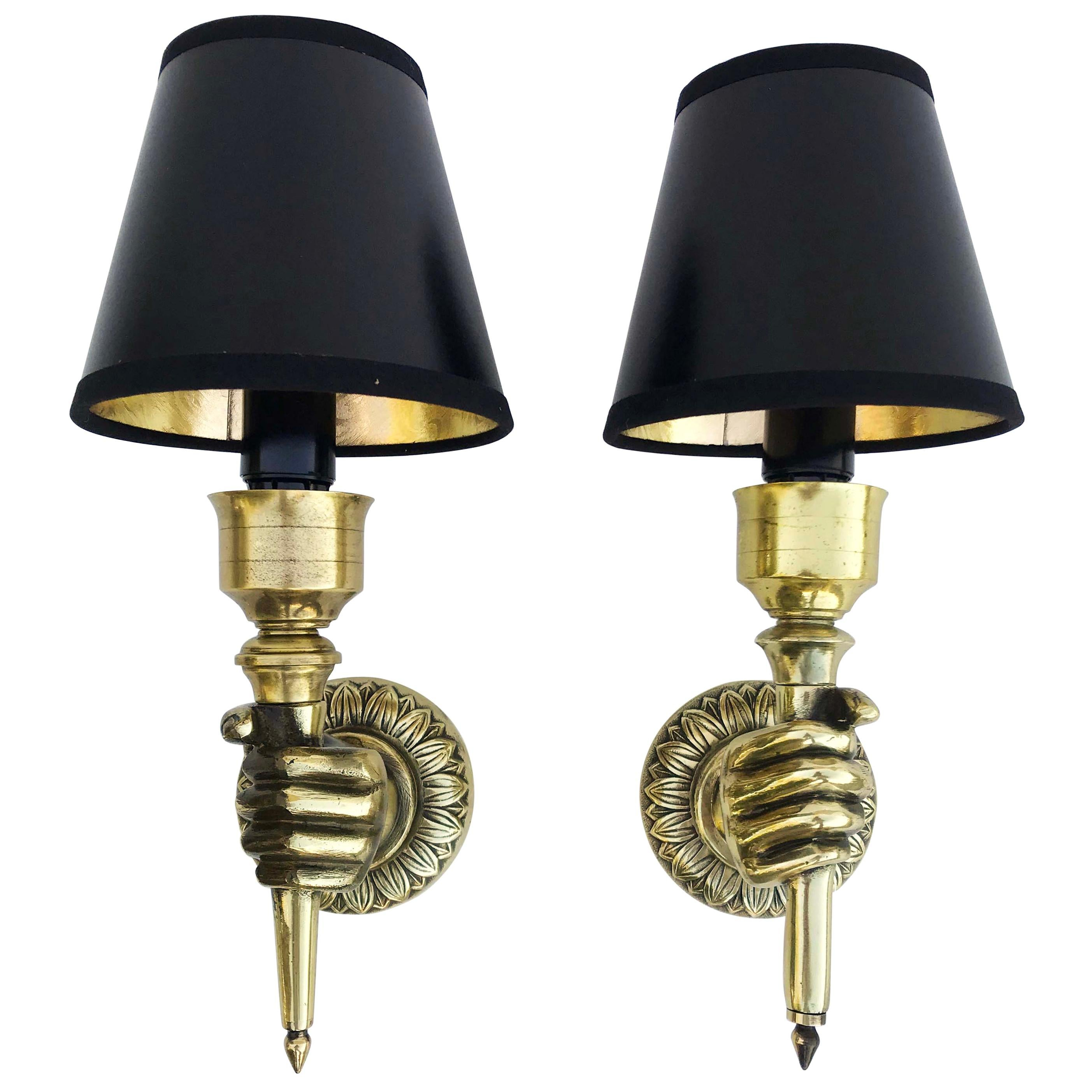 Pair of André Arbus Hand Sconces , 4 Pairs Available