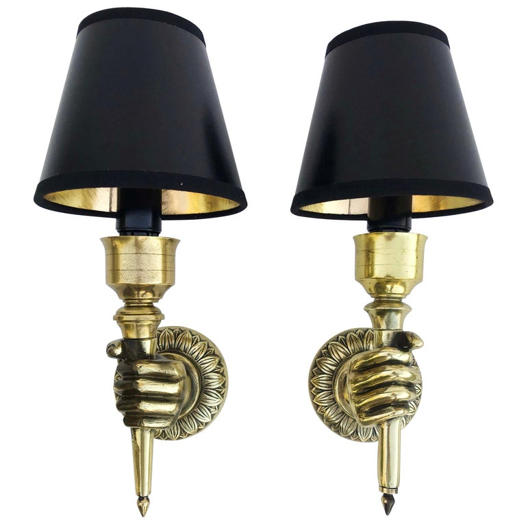 Pair of André Arbus Hand Sconces , 4 Pairs Available  For Sale
