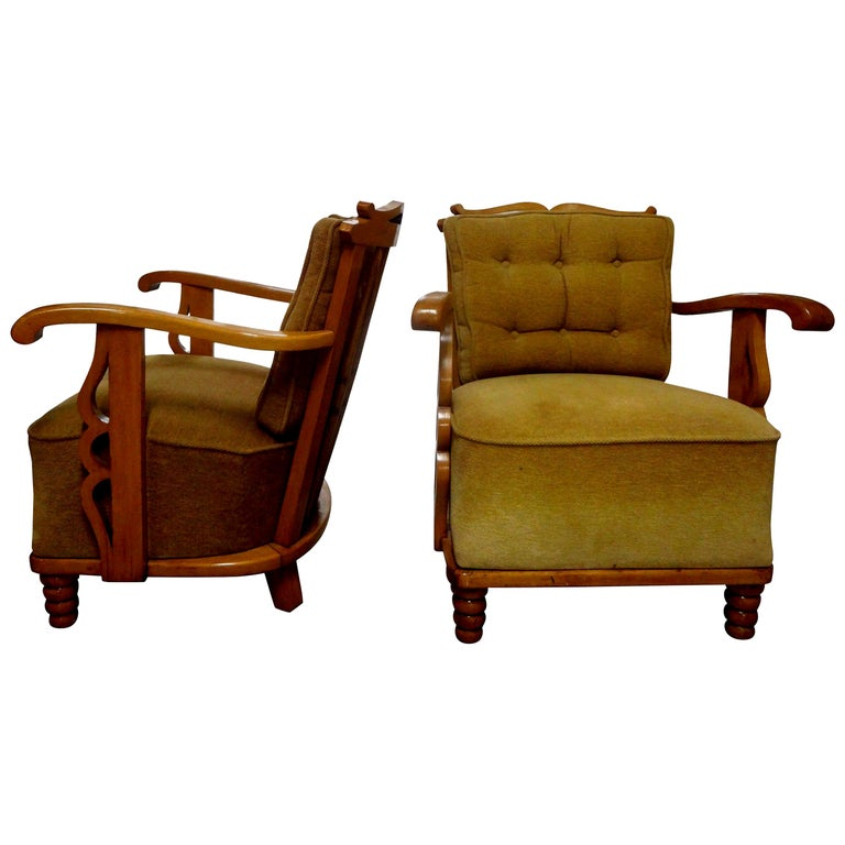 Pair of André Arbus Style French Lounge Chairs For Sale