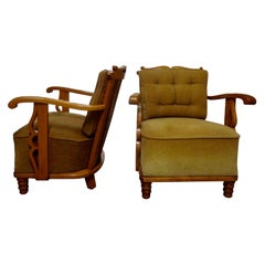 Pair of André Arbus Style French Lounge Chairs in Sycamore, 1940s