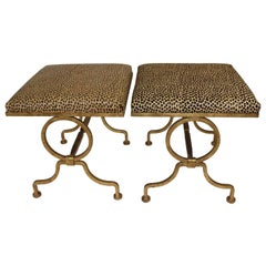 Pair of Andre Arbus Style Gold Gilt Iron Benches