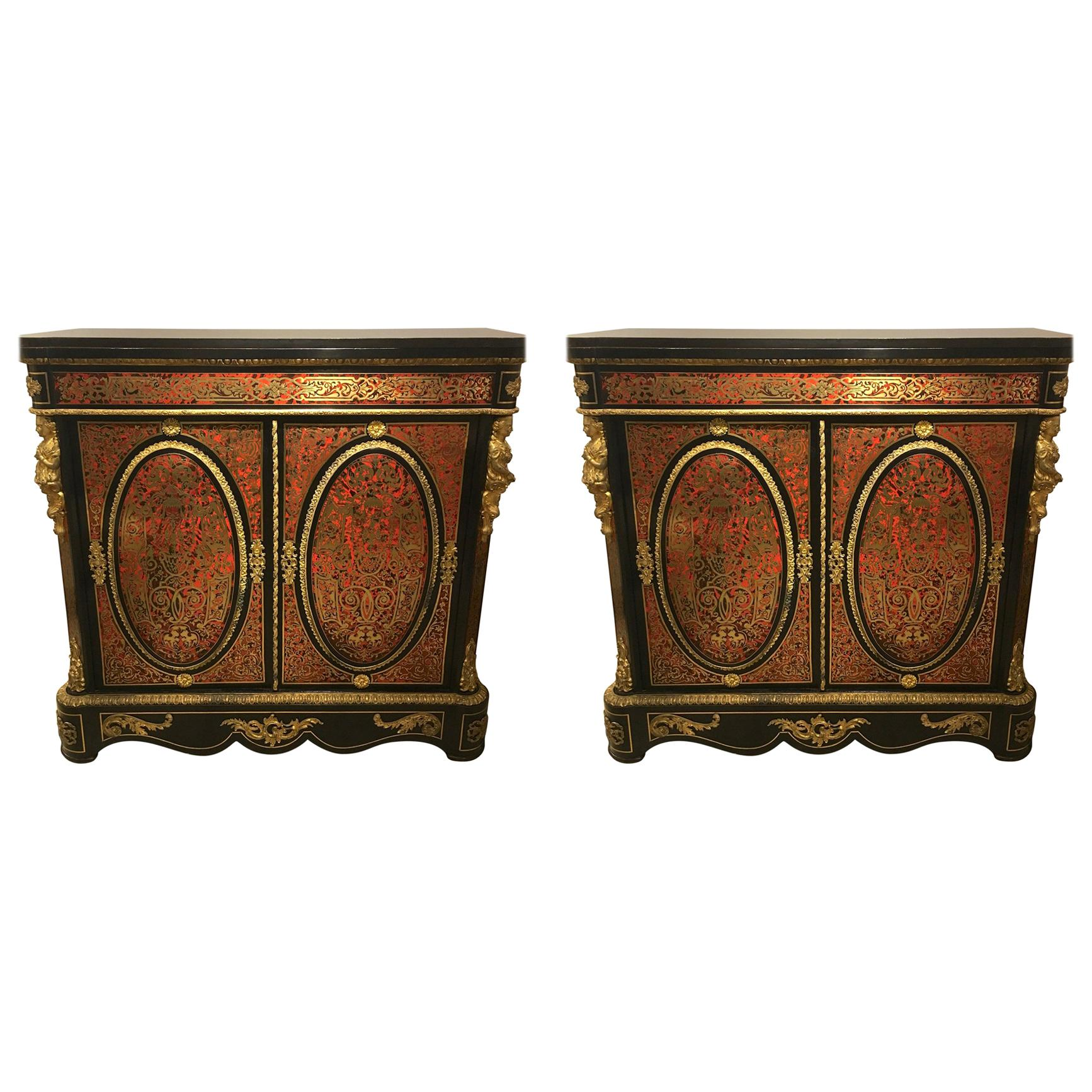 Pair of André-Charles Boulle Style Cabinets, 19th Century