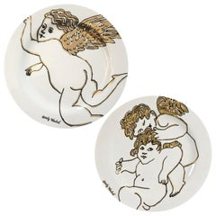 Pair of Andy Warhol Rosenthal Golden Angels Plates, Rosenthal