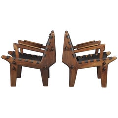 Pair of Angel I. Pazmino Teak and Leather Armchairs for Muebles de Estilo,1960s