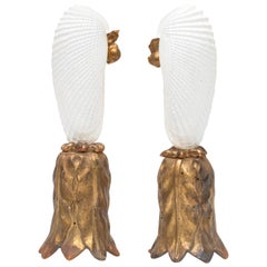 Pair of Angel Wing Shells on 18th Century Gold Leaf Bases with Baroque Pearls
