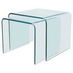 Pair of Angelo Cortesi Glass Waterfall Nesting Drink Tables