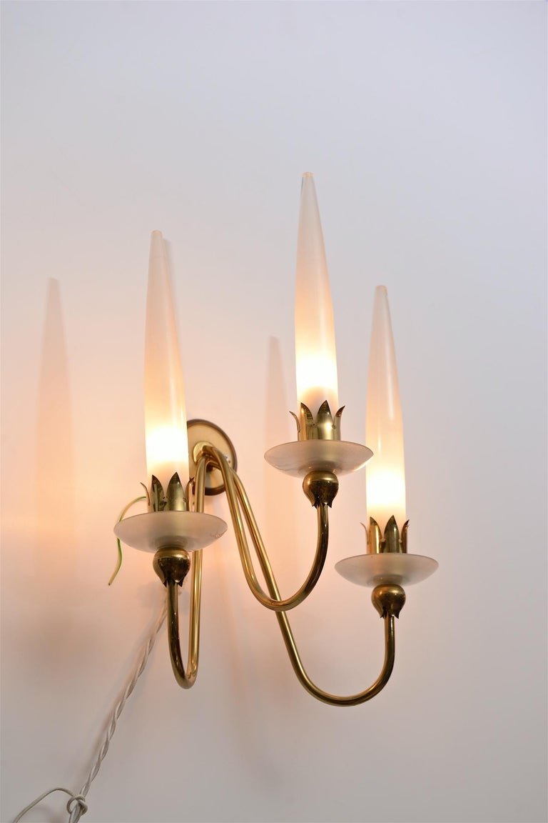Mid-Century Modern Pair of Angelo Lelli Wall Lights For Sale