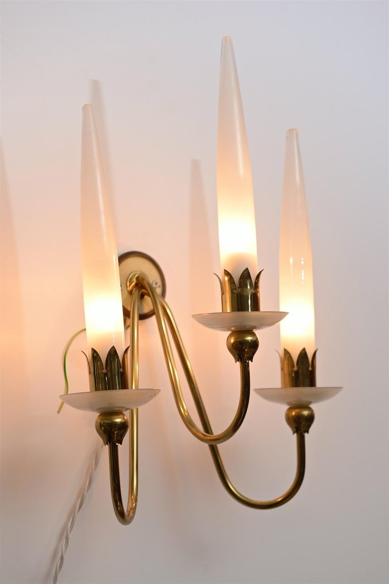 Italian Pair of Angelo Lelli Wall Lights For Sale