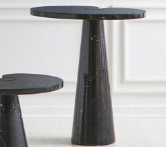Pair of Angelo Mangiarotti Eros Side Tables in Nero Marquina Marble, Tall