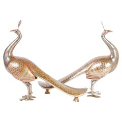 Pair of Anglo-Indian Brass Peacocks