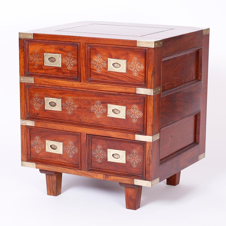 Pakistani Pair of Anglo-Indian Campaign Style Rosewood Nightstands For Sale
