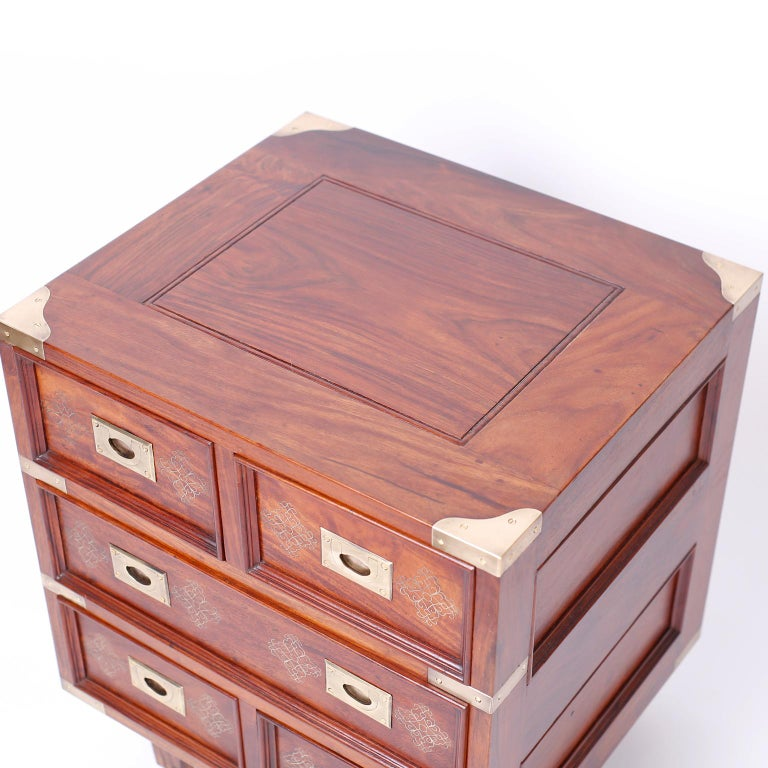 Pair of Anglo-Indian Campaign Style Rosewood Nightstands In Good Condition For Sale In Palm Beach, FL