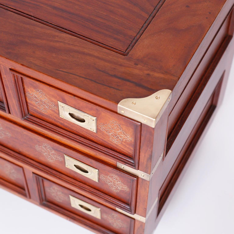 20th Century Pair of Anglo-Indian Campaign Style Rosewood Nightstands For Sale