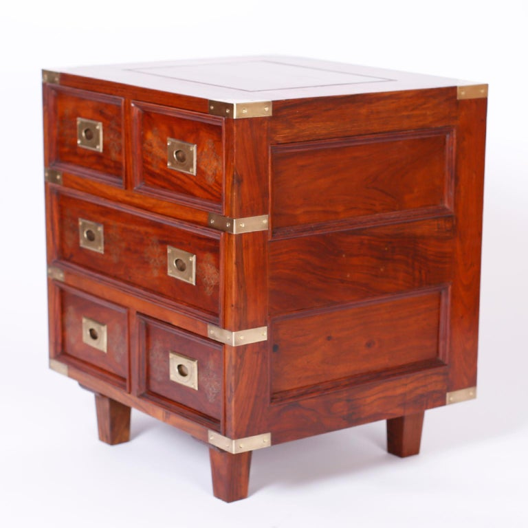 Pair of Anglo-Indian Campaign Style Rosewood Nightstands For Sale 1