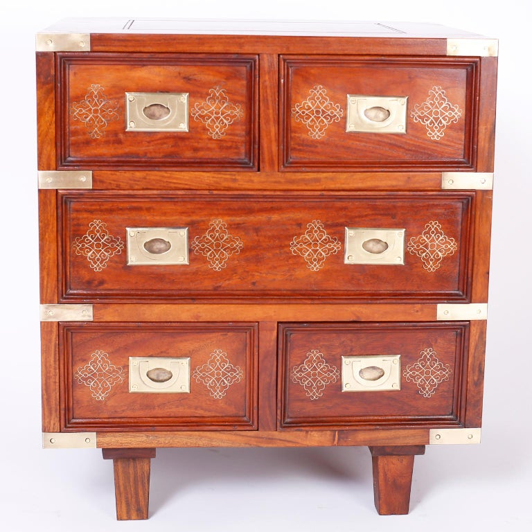 Pair of Anglo-Indian Campaign Style Rosewood Nightstands For Sale 2