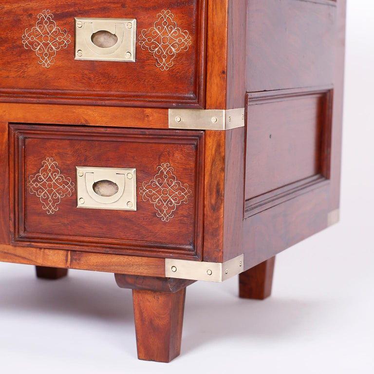 Pair of Anglo-Indian Campaign Style Rosewood Nightstands For Sale 4