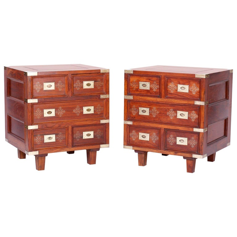 Pair of Anglo-Indian Campaign Style Rosewood Nightstands For Sale