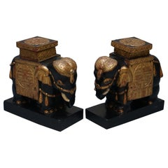 Pair of Anglo-Indian Carved Giltwood Indian Plant Stands or Side Tables