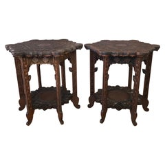 Pair of Anglo-Indian Carved Rosewood Hexagonal Side Tables, Early 1900s