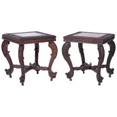 Pair of Anglo Indian Carved Stands or Tables