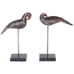 Pair of Anglo Indian Carved Wood Birds on Stands
