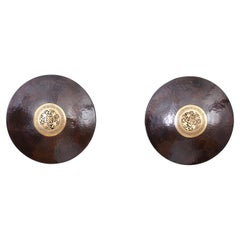 Pair of Anglo Indian Circular Brass Wall Sconces
