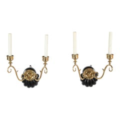 Pair of Anglo Indian Ebonized Wood and Bronze Two Arm Scones