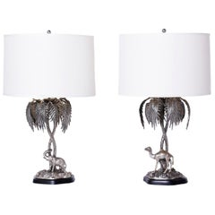 Pair of Anglo-Indian Figural Palm Tree Table Lamps