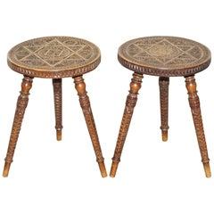 Pair of Anglo-Indian Hand Carved Hardwood 19th Century Side End Lamp Wine Tables