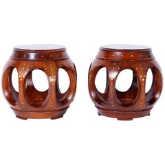 Pair of Anglo-Indian Inlaid Rosewood Stands or Seats