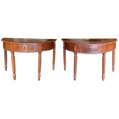 Pair of Anglo-Indian or Anglo-Caribbean Carved Demilune Console Tables