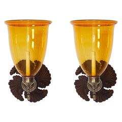 Pair of Anglo Indian Sconces with Amber Hurricane Shades