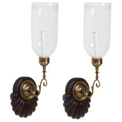 Pair of Anglo Indian Single Light Sconces with Greek Key Hurricane Shades