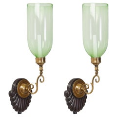 Pair of Anglo Indian Single Light Sconces with Light Green Hurricane Shades
