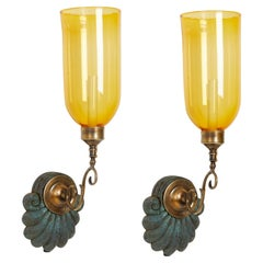 Pair of Anglo Indian Single Light Sconces with Yellow Hurricane Shades